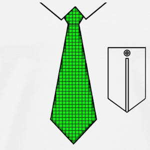 Green tie with pocket Buttons - Men's Premium T-Shirt