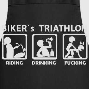 bikers triathlon eating drinking fucking Tee shirt - Tablier de cuisine