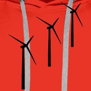 3 wind turbines wind energy T-Shirts - Men's Premium Hoodie