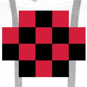 RED TARTAN gingham simple squares shape decoration  Aprons - Men's Premium Hoodie