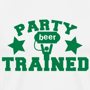 party trained holding up a beer keg! with stars  Aprons - Men's Premium T-Shirt