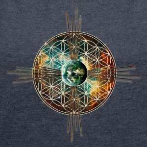Blume des Lebens - Erde - Flower of life - earth/  - Women's T-shirt with rolled up sleeves