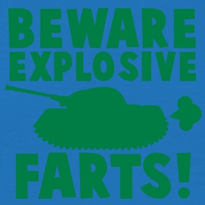 BEWARE EXPLOSIVE FARTS with a army tank  Aprons - Men's T-Shirt