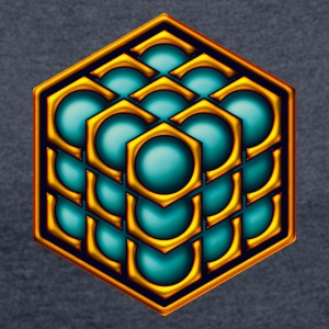3D Cube - crop circle - Metatrons Cube - Hexagon / Sweatshirts - Dame T-shirt med rulleærmer