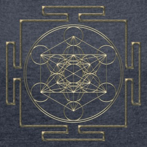 Yantra - Metatron`s Cube - Flower of Life / Hoodie - Women's T-shirt with rolled up sleeves