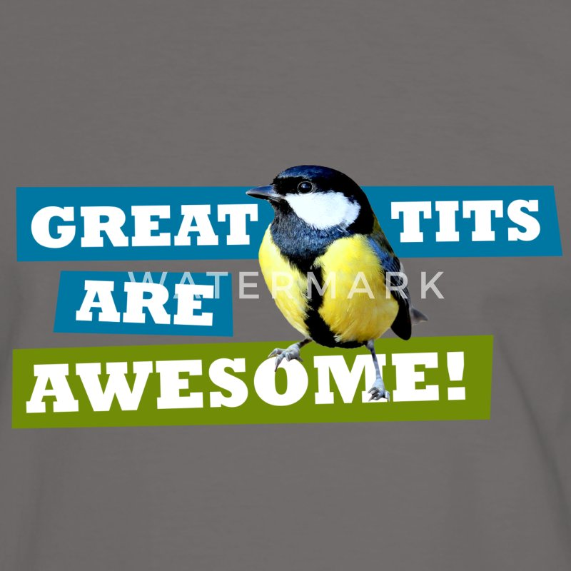 Great tits are awesome! T-shirts - Mannen contrastshirt