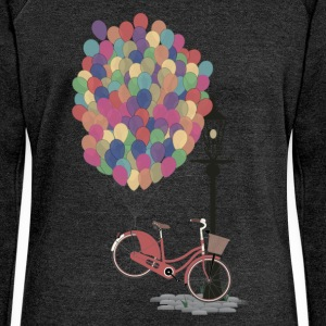 Sand beige Love to Ride my Bike with Balloons T-Shirts T-Shirts - Women's Boat Neck Long Sleeve Top