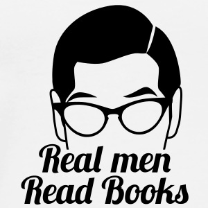 Real men READ books! with serious glasses man face Bottles & Mugs - Men's Premium T-Shirt
