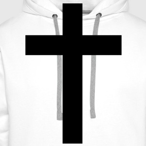 Cross black bar cross 1c T-Shirts - Men's Premium Hoodie
