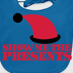 SHOW ME THE PRESENTS! with Santa HAT Christmas Shirts - Baby Organic Bib