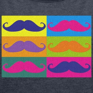 moustaches pop art - T-skjorte med rulleermer for kvinner