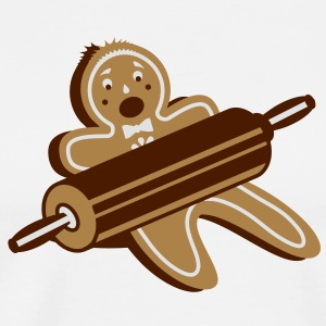 A rolling pin and a gingerbread man  Aprons - Men's Premium T-Shirt