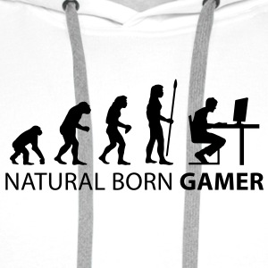 evolution natural born gamer T-Shirts - Men's Premium Hoodie
