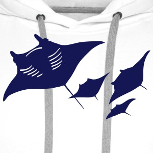 manta raie plongée plongeur scuba diving poisson Badges - Sweat-shirt à capuche Premium pour hommes