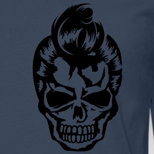 A skull with a rockabilly haircut Jackets & Vests - Mannen Premium shirt met lange mouwen