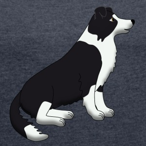 Border Collie black and white Hoodies & Sweatshirts - Women's T-shirt with rolled up sleeves