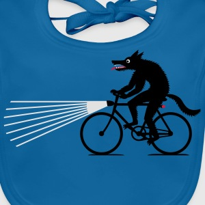 Royal blue Wolf with bike Shirts - Baby Organic Bib