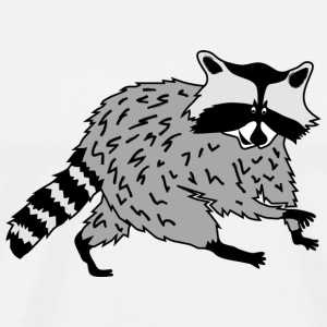 raccoon coon cute animal forest wild Buttons - Men's Premium T-Shirt