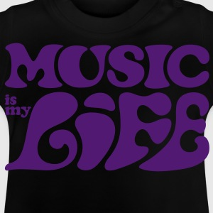 Music is my life 70er Jahre Flower Power T-Shirts - Baby T-Shirt