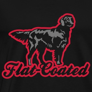 flat_coated_on_black Tröjor - Premium-T-shirt herr