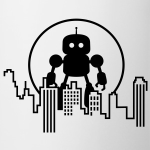 Robot City Skyline Camisetas - Taza