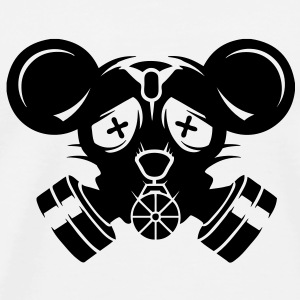 A gas mask with big mouse ears Buttons - Men's Premium T-Shirt