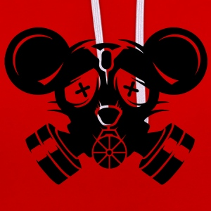 A gas mask with big mouse ears Bags  - Contrast Colour Hoodie