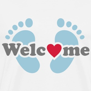 Welcome Me! Baby on board feet pregnancy Shirts - Men's Premium T-Shirt