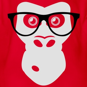 Nerd Ape with glasses Shirts - Organic Short-sleeved Baby Bodysuit