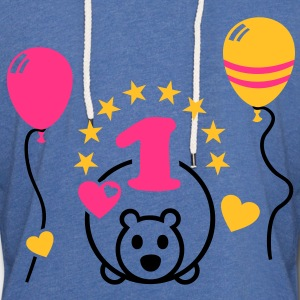 At last one! First Birthday Party Balloon Bear Shirts - Light Unisex Sweatshirt Hoodie