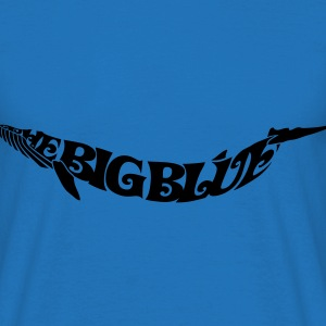 Silhouette in letters: Blue Whale - the Big Blue Bags  - Men's T-Shirt