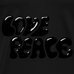 Love Peace seventies 70s retro style flower power Tassen - Mannen Premium T-shirt