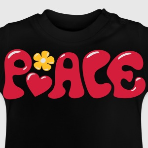 3-D Peace. Heart and flower - Love & Happiness Camisetas - Camiseta bebé
