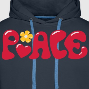 Peace Coeur fleur- Love Happiness iconeTee shirts - Sweat-shirt à capuche Premium pour hommes