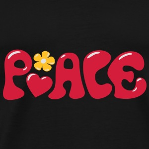 3-D Peace. Heart and flower - Love & Happiness Bags  - Men's Premium T-Shirt