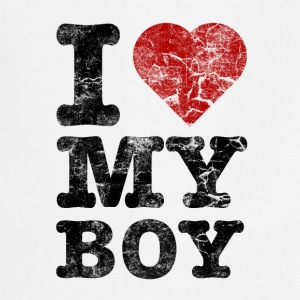 I Love my Boy vintage dark Partner T-Shirts - Kochschürze