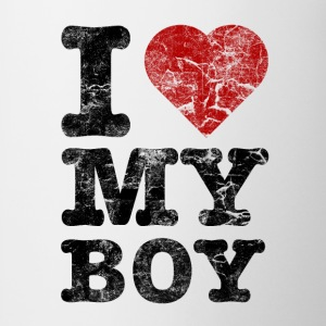 I Love my Boy vintage dark Camisetas - Taza