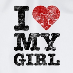 I Love my Girl vintage dark T-Shirts - Drawstring Bag