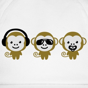 modern hipster three monkeys Taschen - Baseballkappe