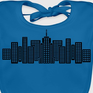 Royal blue City Skyline Manhattan Kid's Shirts  - Baby Organic Bib