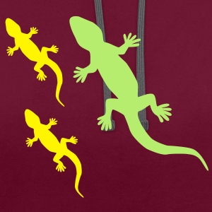 Gecko with Babies T-Shirts - Contrast Colour Hoodie