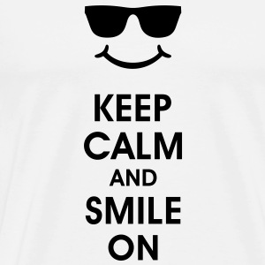 Keep Calm and Smile. Lachend helpt. Smiley Smilie Sweaters - Mannen Premium T-shirt