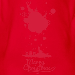 Christmas symbols with snow and merry christmas Shirts - Organic Short-sleeved Baby Bodysuit