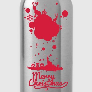 Christmas symbols with snow and merry christmas Shirts - Water Bottle