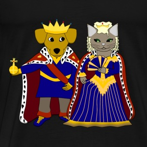 KIng dog and queen cat T-shirts - Herre premium T-shirt