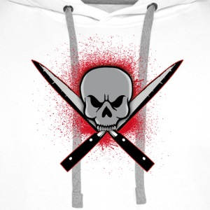 Skull with crossed knifes Tee shirts - Sweat-shirt à capuche Premium pour hommes