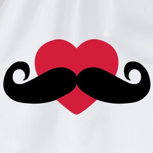 heart moustache / love moustache Hoodies - Drawstring Bag