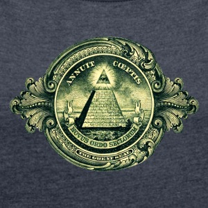 All seeing eye, pyramid, dollar, freemason, god Tröjor - T-shirt med upprullade ärmar dam