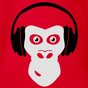 gorilla with headphones T-Shirts - Baby Bio-Kurzarm-Body