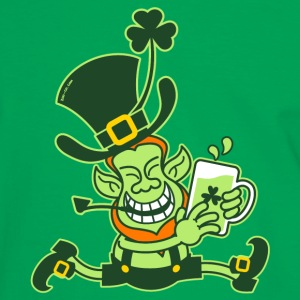 Green Leprechaun Running with Beer Bags  - Men's Ringer Shirt